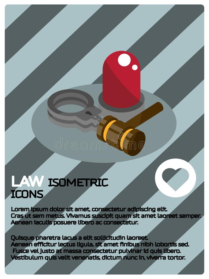 Law color isometric poster. Vector illustration, EPS 10 vector illustration