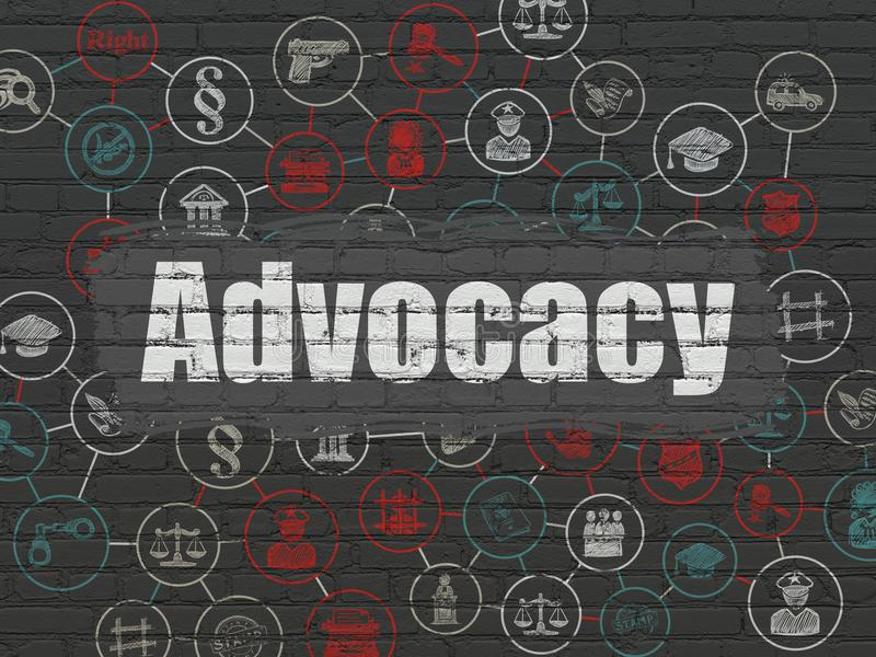 Law concept: Advocacy on wall background. Law concept: Painted white text Advocacy on Black Brick wall background with Scheme Of Hand Drawn Law Icons royalty free illustration