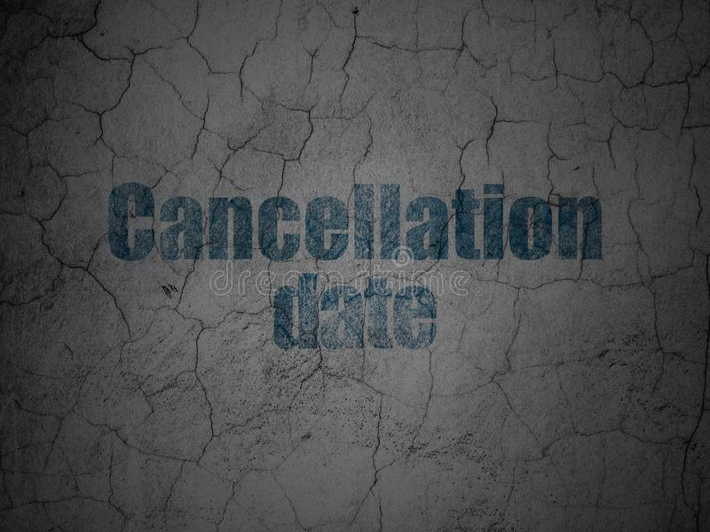 Law concept: Cancellation Date on grunge wall background. Law concept: Blue Cancellation Date on grunge textured concrete wall background royalty free illustration