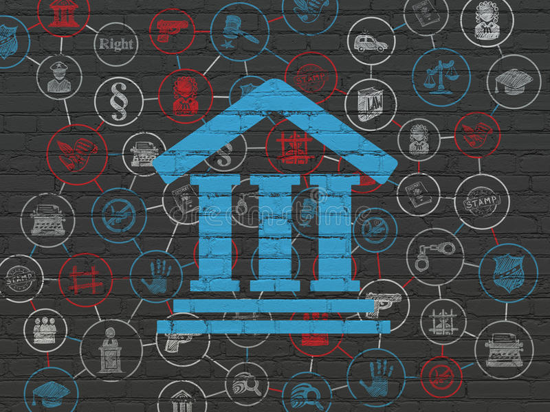 Law concept: Courthouse on wall background. Law concept: Painted blue Courthouse icon on Black Brick wall background with Scheme Of Hand Drawn Law Icons royalty free illustration