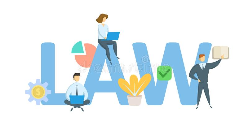 LAW. Concept with keywords, letters, and icons. Flat vector illustration. Isolated on white background. royalty free illustration