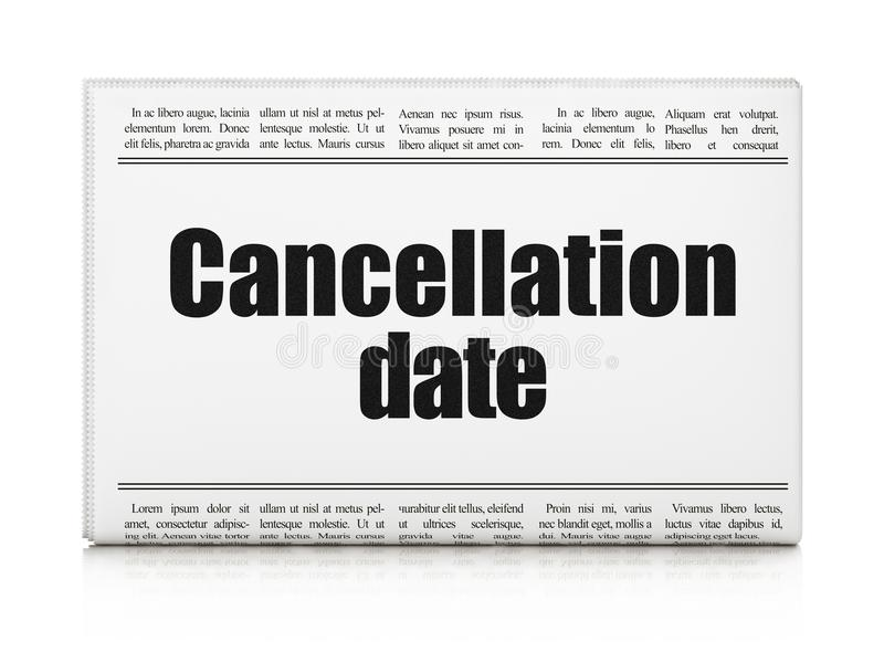 Law concept: newspaper headline Cancellation Date. On White background, 3D rendering vector illustration
