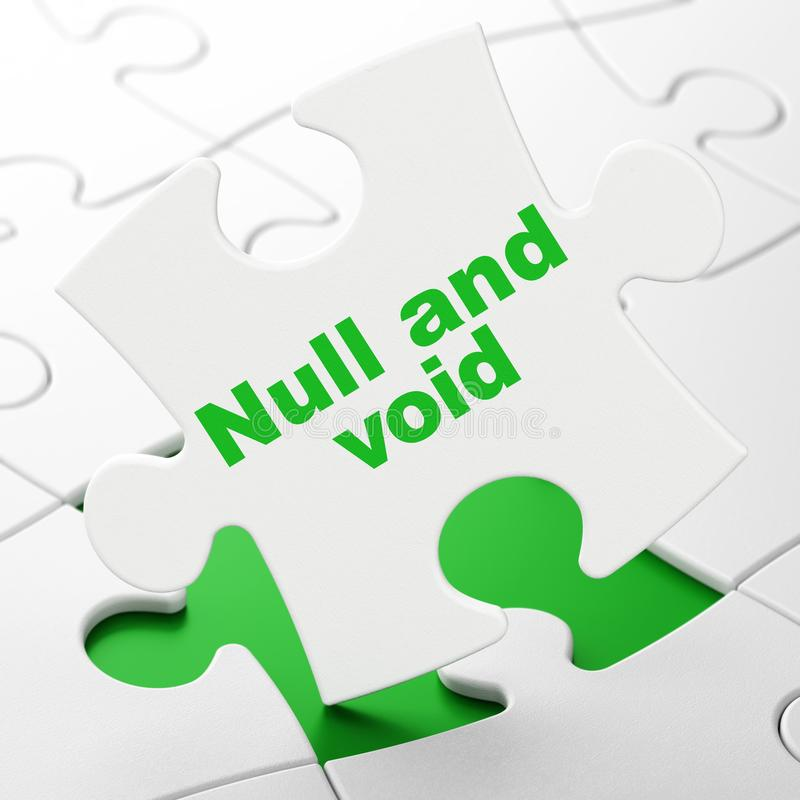 Law concept: Null And Void on puzzle background. Law concept: Null And Void on White puzzle pieces background, 3D rendering stock illustration