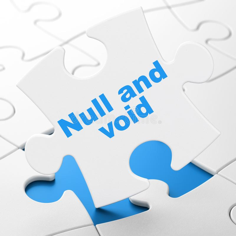 Law concept: Null And Void on puzzle background. Law concept: Null And Void on White puzzle pieces background, 3D rendering vector illustration