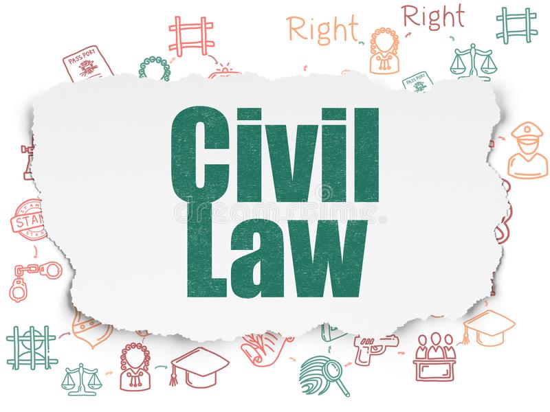 Law concept: Civil Law on Torn Paper background. Law concept: Painted green text Civil Law on Torn Paper background with Scheme Of Hand Drawn Law Icons vector illustration