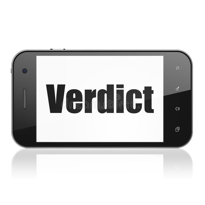 Law concept: Smartphone with Verdict on display. Law concept: Smartphone with black text Verdict on display, Tag Cloud background, 3D rendering vector illustration