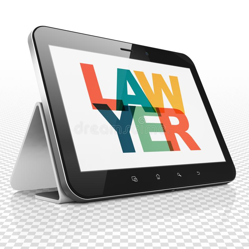 Law concept: Tablet Computer with Lawyer on display. Law concept: Tablet Computer with Painted multicolor text Lawyer on display, 3D rendering vector illustration