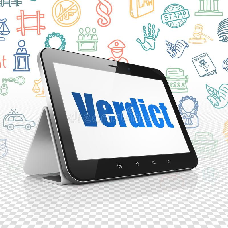 Law concept: Tablet Computer with Verdict on display. Law concept: Tablet Computer with blue text Verdict on display, Hand Drawn Law Icons background, 3D vector illustration