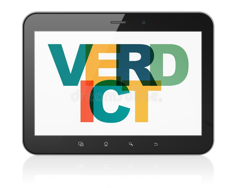 Law concept: Tablet Computer with Verdict on display. Law concept: Tablet Computer with Painted multicolor text Verdict on display, 3D rendering vector illustration