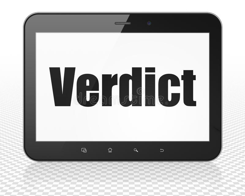 Law concept: Tablet Pc Computer with Verdict on display. Law concept: Tablet Pc Computer with black text Verdict on display, 3D rendering royalty free illustration
