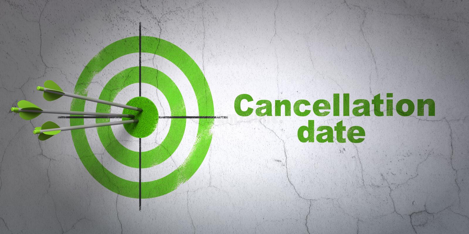 Law concept: target and Cancellation Date on wall background. Success law concept: arrows hitting the center of target, Green Cancellation Date on wall vector illustration