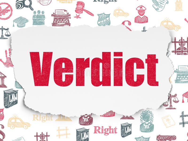 Law concept: Verdict on Torn Paper background. Law concept: Painted red text Verdict on Torn Paper background with Hand Drawn Law Icons vector illustration