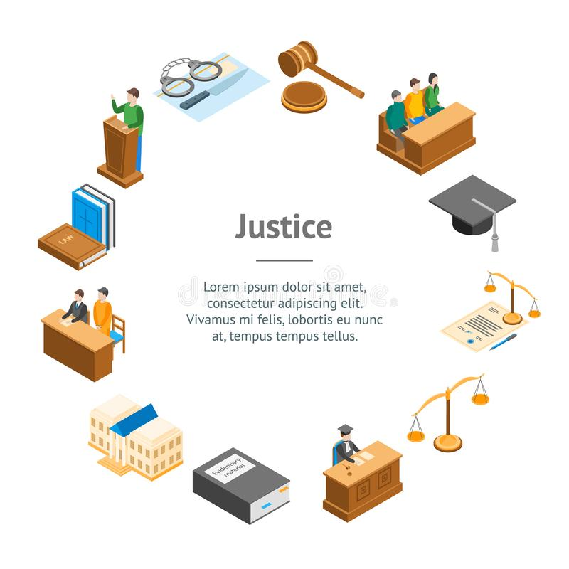 Law Court 3d Banner Card Circle Isometric View. Vector. Law Court 3d Banner Card Circle Isometric View Include of Lawyer, Handcuff, Scale and Document. Vector vector illustration