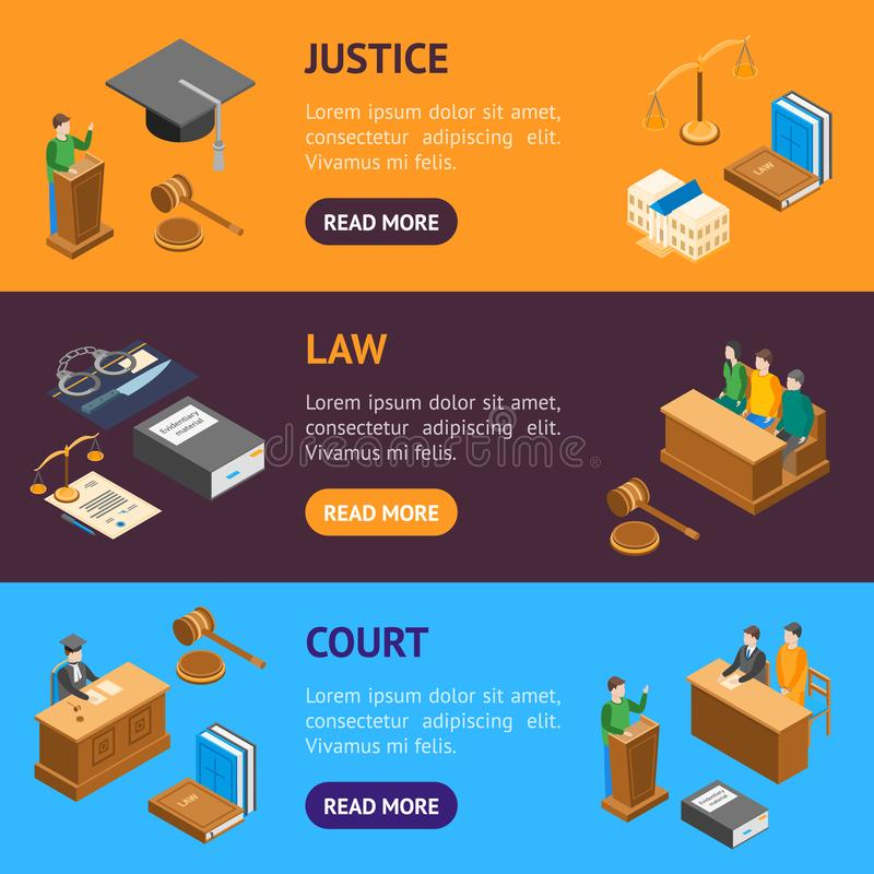 Law Court 3d Banner Horizontal Set Isometric View. Vector. Law Court 3d Banner Horizontal Set Isometric View Include of Lawyer, Handcuff, Scale and Document royalty free illustration