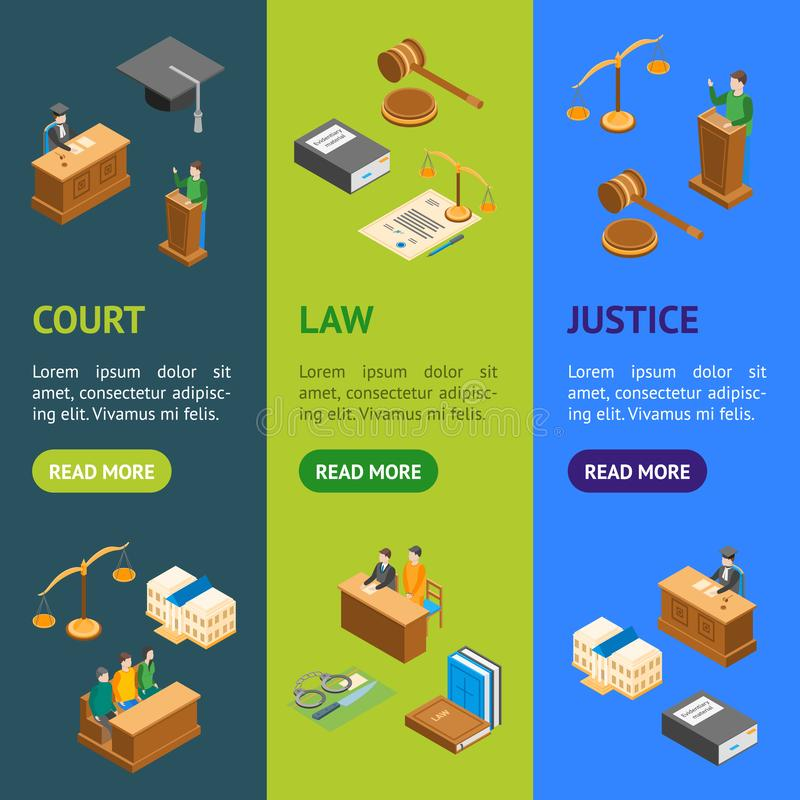 Law Court 3d Banner Vecrtical Set Isometric View. Vector. Law Court 3d Banner Vecrtical Set Isometric View Include of Lawyer, Handcuff, Scale and Document royalty free illustration