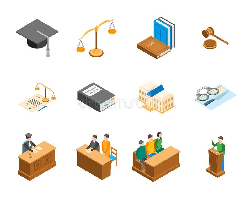 Law Court 3d Icons Set Isometric View. Vector. Law Court 3d Icons Set Isometric View Include of Lawyer, Handcuff, Scale and Document. Vector illustration of Icon royalty free illustration