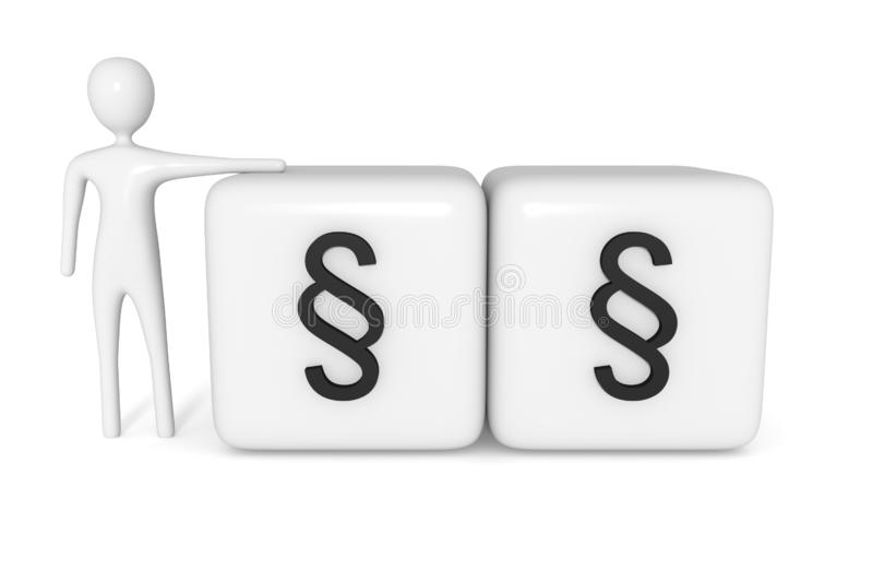 Law: cubes with section signs with white 3d man stock illustration