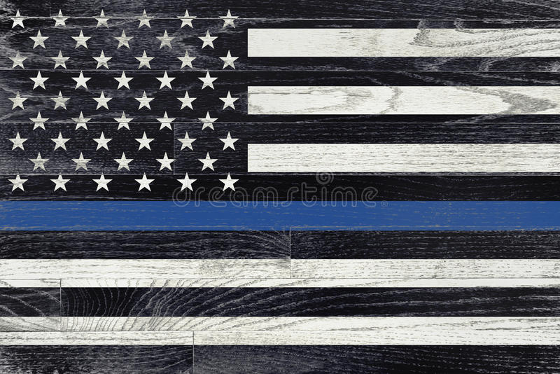 Law Enforcement Support Flag. A law enforcement police support flag painted on white washed wood grained boards stock image