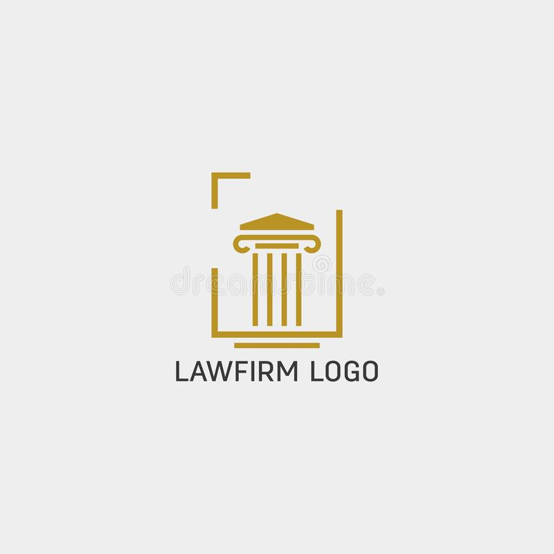 Law firm, advocate creative logo template with business card. Law firm, advocate creative logo template vector illustration with business card - vector royalty free illustration