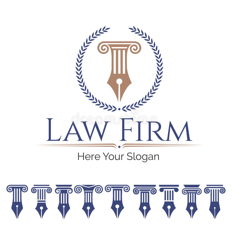Law firm and column set. Corporate Identity Logo law firm, Law Office, Lawyer services, Vector logo template. Set antique columns. Can be used as logo for law stock illustration