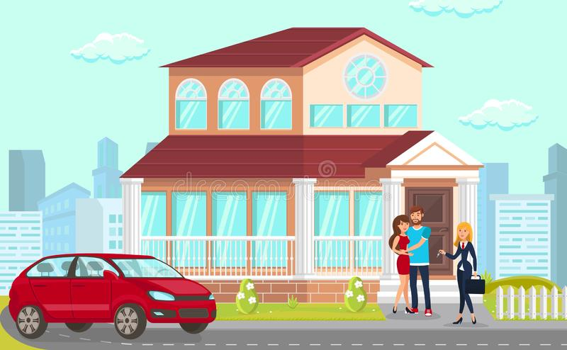 Vector Law Firm Company Helps Conclude Contracts. Law Firm Company Helps Conclude Contracts for Purchase Affordable Housing. Young Family Vector Flat House Red vector illustration