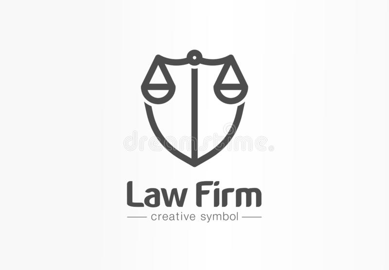 Law firm creative symbol concept. Lawyer office, legal, justice, protection abstract business logo idea. Scale and. Shield, attorney icon. Corporate identity vector illustration