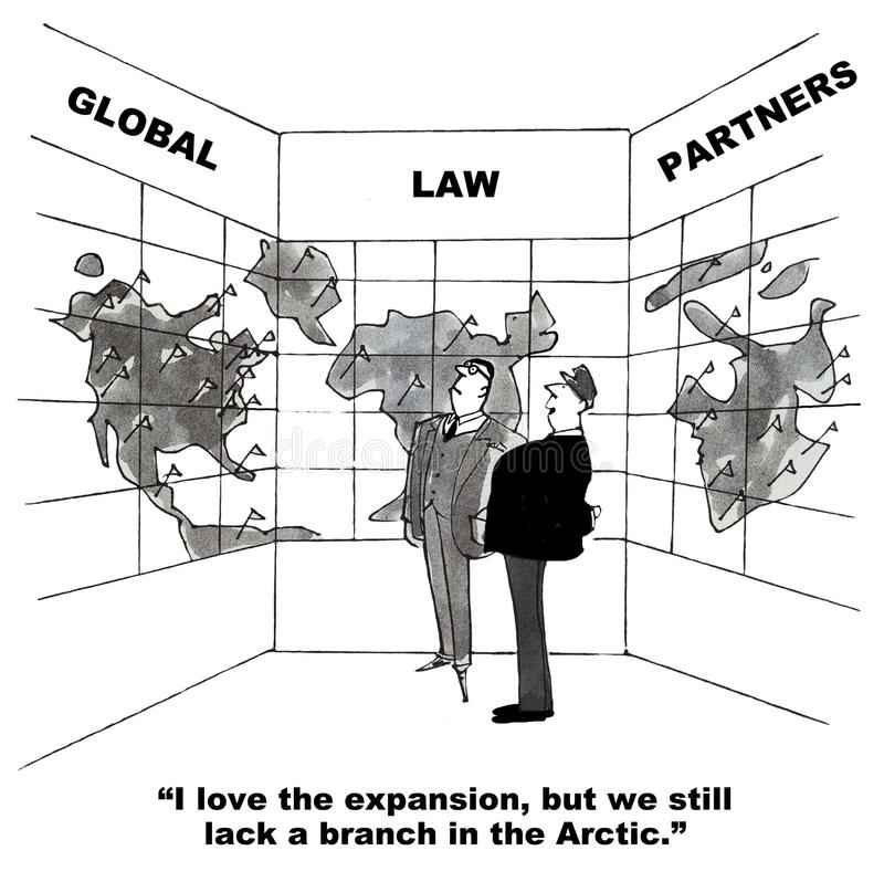 Law Firm Global Expansion. Cartoon of law partners looking at map of world, I love the expansion, but we still lack a branch in the Arctic royalty free illustration