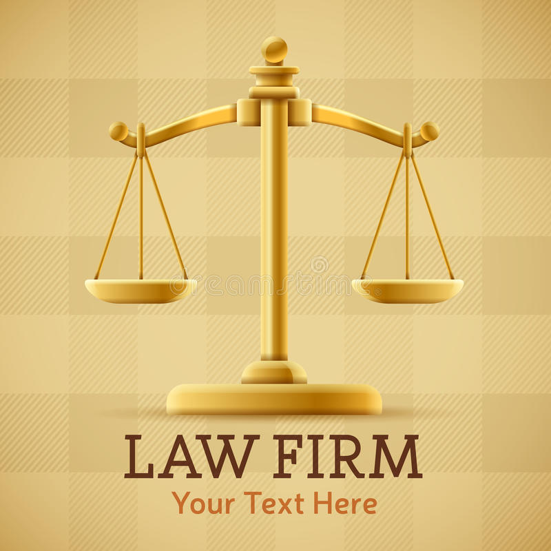 Law Firm Justice Scale. Background concept with space for text stock illustration