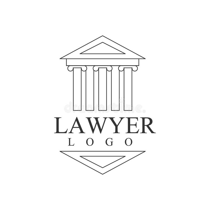 Law Firm And Lawyer Office Black And White Logo Template With Greek Court Building Justice Symbol Silhouette. Vector Monochrome Emblem For Premium Class vector illustration