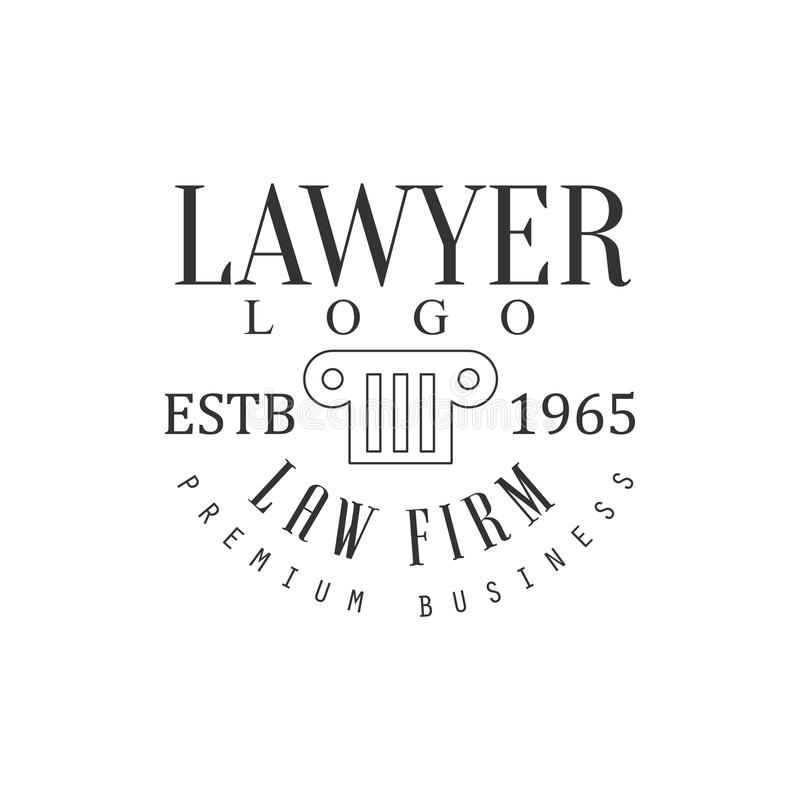 Law Firm And Lawyer Office Black And White Logo Template With Greek