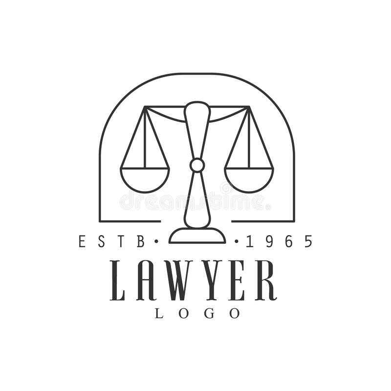 Law Firm And Lawyer Office Black And White Logo Template With Market