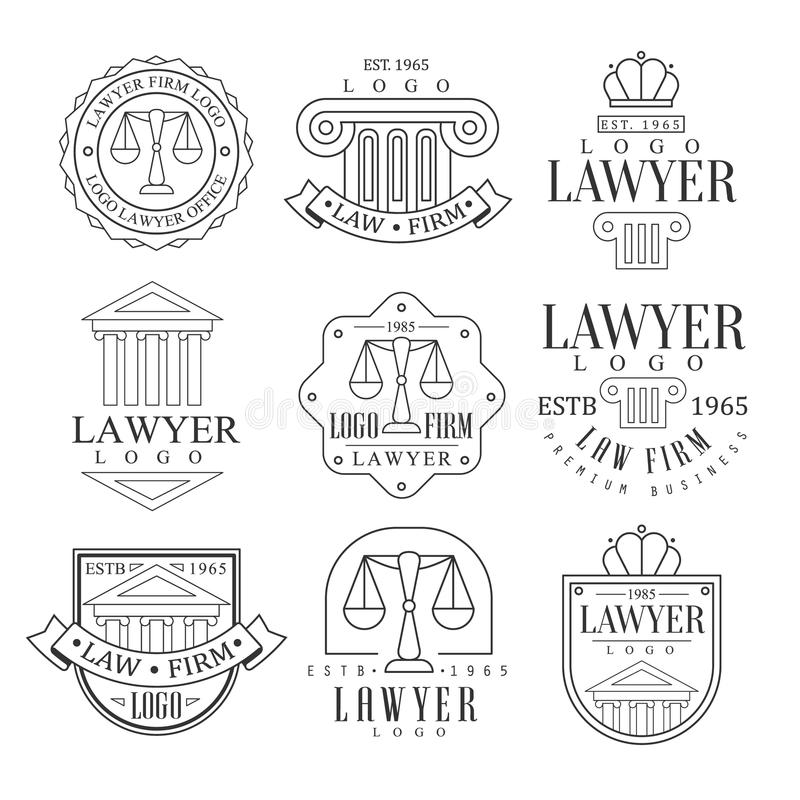 Law Firm And Lawyer Office Logo Templates With Classic Ionic Pillars, Pediments And Balance Silhouettes stock illustration