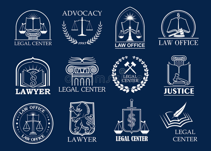 Law firm, legal center and lawyer office badge set. Justice heraldic symbols with scales, sword, law book and judge mallet, framed by laurel wreath and shield royalty free illustration
