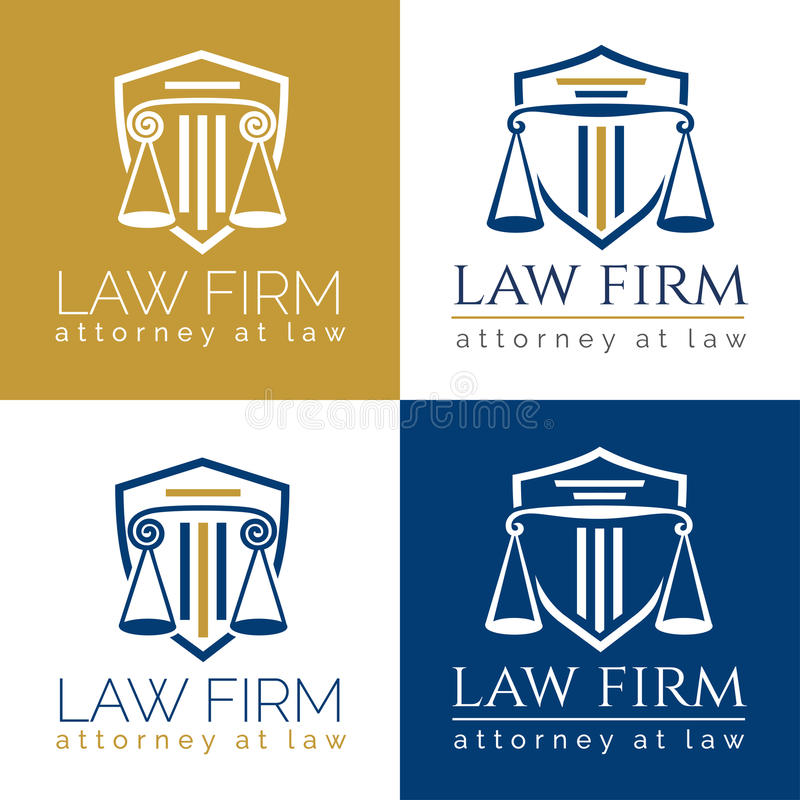 Law firm logo Column. Law office logo in the form of shield with greece column and scales. The judge, Law firm logo template, lawyer set of vintage labels vector illustration