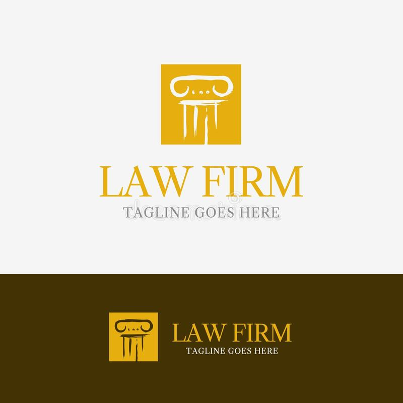 Law Firm Logo. Template element symbol with pillar line royalty free illustration