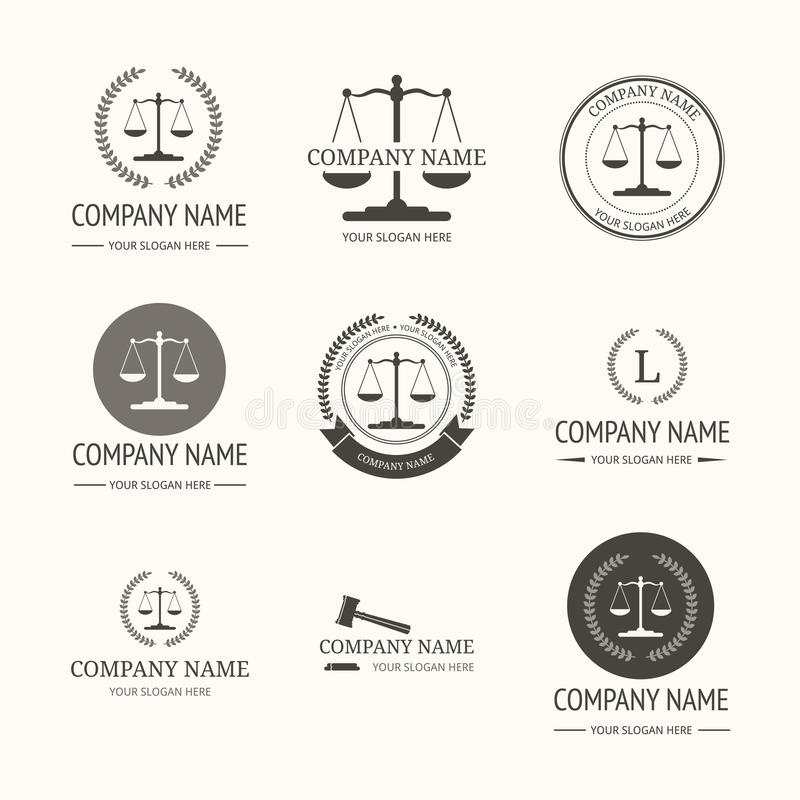 Law firm logo template. set of vintage labels. Law firm logo template. Vector set of vintage labels, logotype templates and monogram stock illustration
