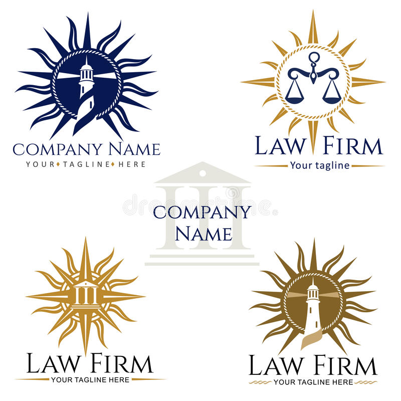 Law Firm Logos. Law firm logo, rose of wind, scales of justice, attorney, lighthouse royalty free illustration