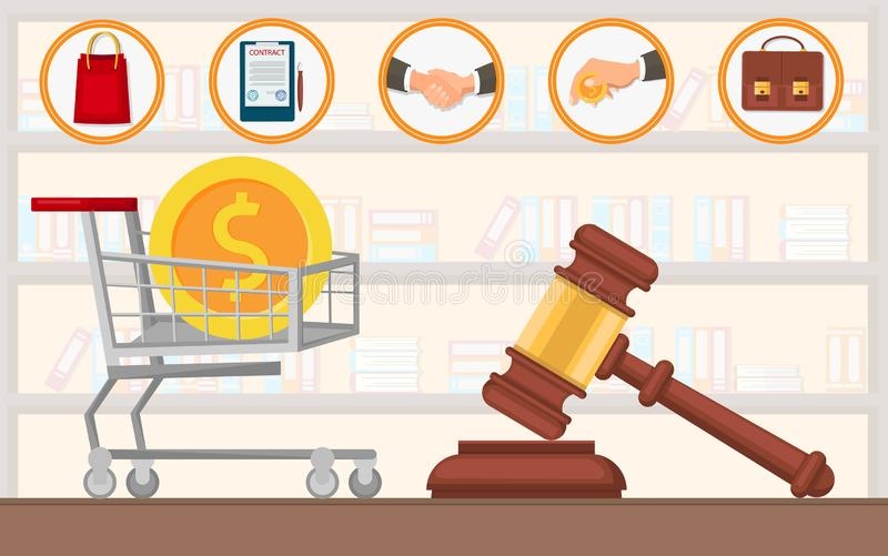 Law Firm Payment Lawyer Services Purchase Flat. stock illustration