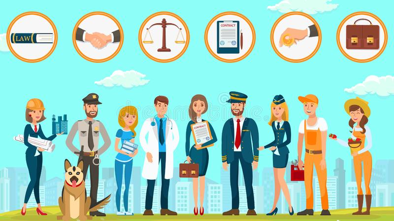 Law Firm Protects Rights Citizens Vector Flat. Law Firm Protects Rights Citizens Provides Services Vector Flat. Lawyer Contract Court Signing Contract Taxes stock illustration