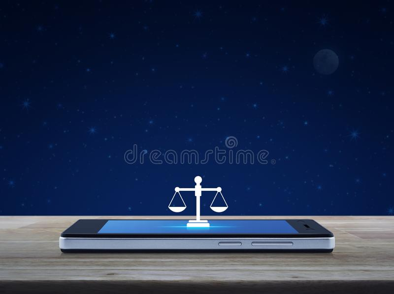 Law flat icon on modern smart mobile phone screen on wooden table over fantasy night sky and moon, Business legal service online. Concept vector illustration