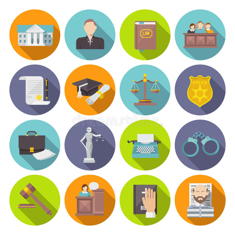 Law Icon Flat. Set with lawyer jail court jury isolated vector illustration royalty free illustration