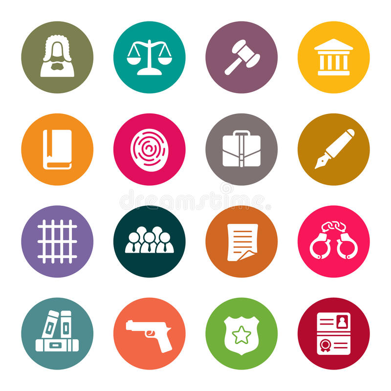 Law icon set stock illustration