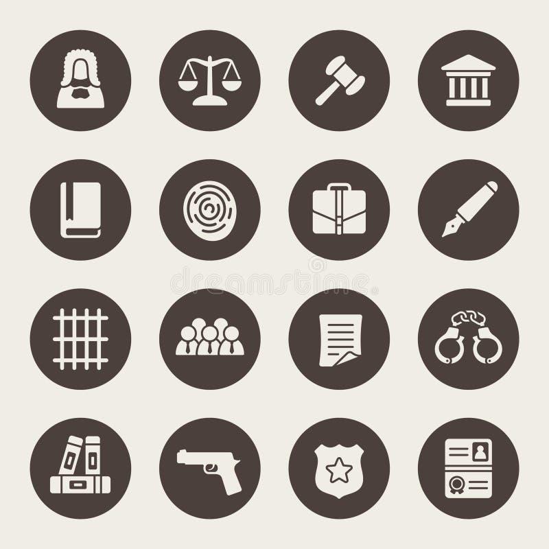 Law icon set stock illustration