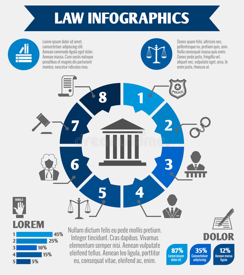 Law icons infographic. Law legal justice infographics with charts diagrams and legislation elements vector illustration vector illustration