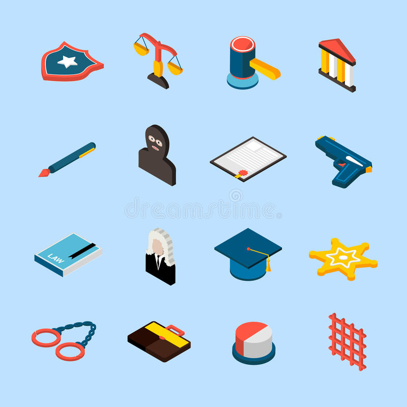 Law Icons Isometric. Law and judgment icons isometric set with jury attorney handcuffs isolated vector illustration royalty free illustration