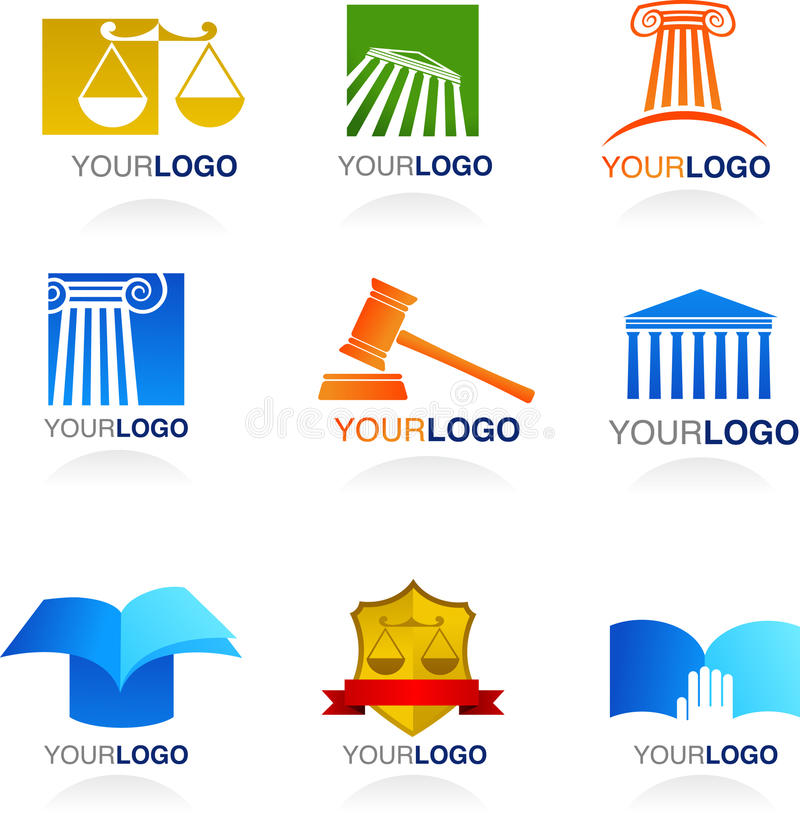 Law icons and logos vector illustration