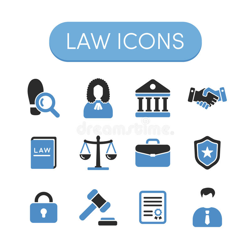 Law Icons stock vector. Illustration of illustration ...