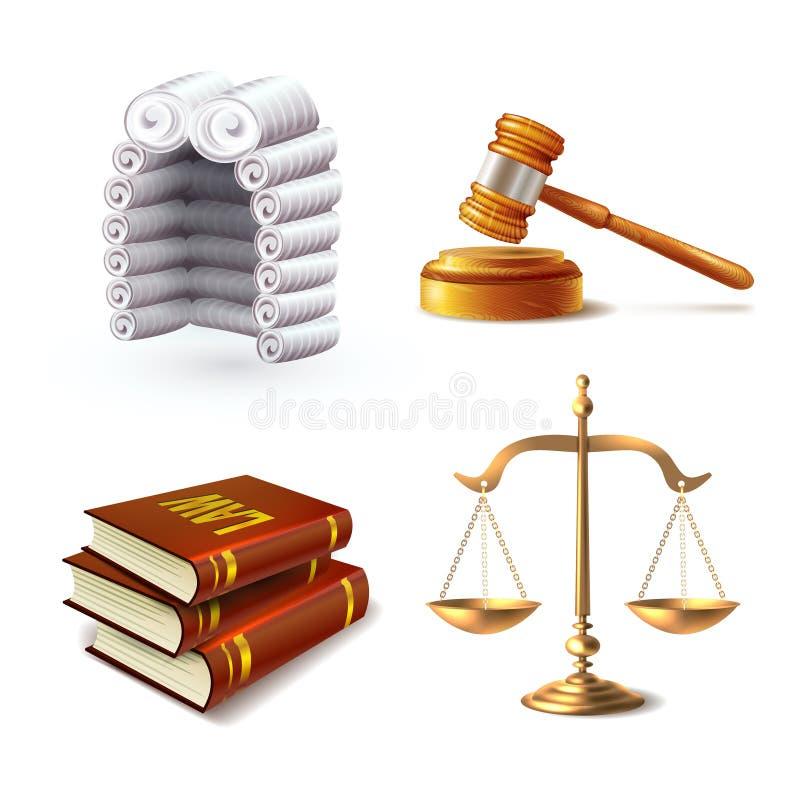 Law Icons Set vector illustration