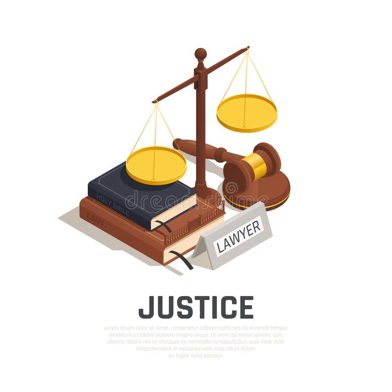 Law Justice Isometric Composition. Law isometric composition with mallet legal code book bible and scale of justice symbol vector illustration vector illustration