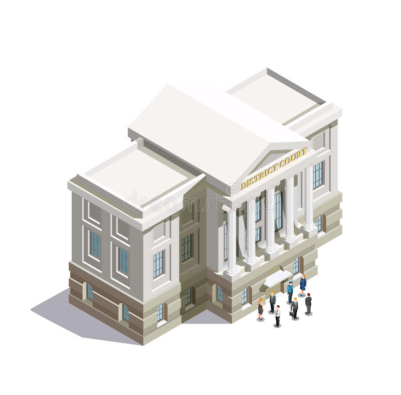 Law Isometric Icon. With district court building and people at entrance on white background 3d vector illustration royalty free illustration